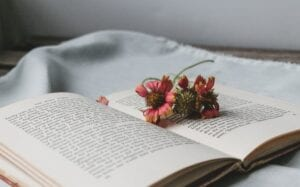 open book with flowers